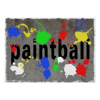 Paintball Splatter on Concrete Wall Posters