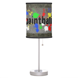 Paintball Splatter on Concrete Wall Table Lamps