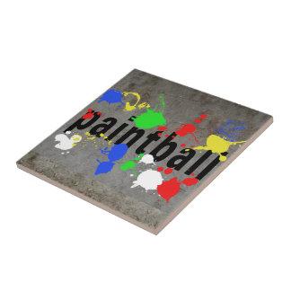 Paintball Splatter on Concrete Wall Tiles