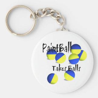 Paintball takes Balls Basic Round Button Keychain