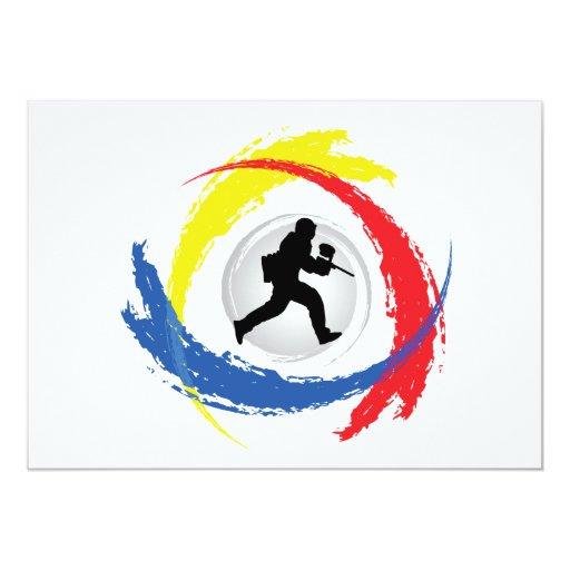 Paintball Tricolor Emblem 5x7 Paper Invitation Card