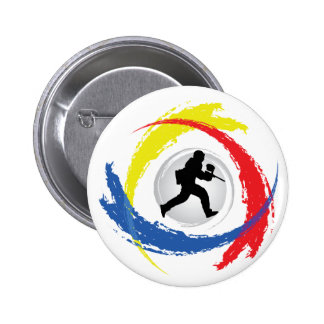Paintball Tricolor Emblem Pinback Button