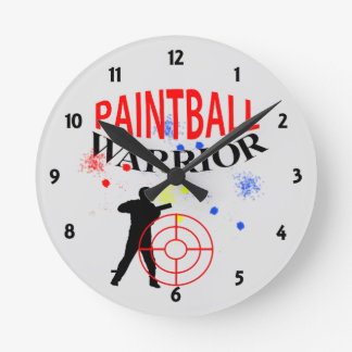 Paintball Warrior Themed Graphic Round Clock