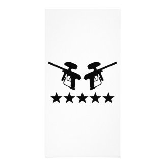Paintball weapon stars photo card