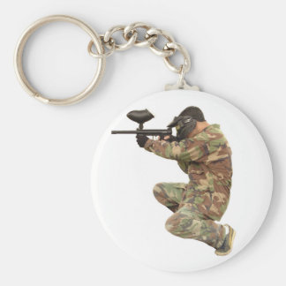 Paintballing Basic Round Button Keychain