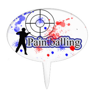 Paintballing Games Red Blue Party Theme Cake Picks