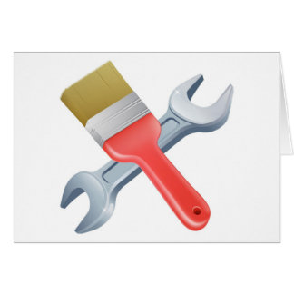 Paintbrush and spanner tools cards