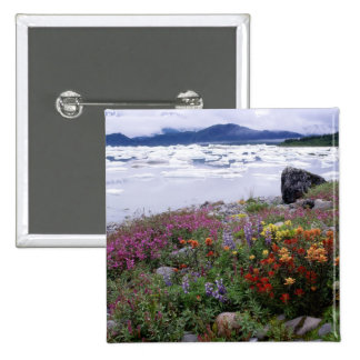 Paintbrush, Lupine, Fireweed. Icebergs Russell 2 Inch Square Button