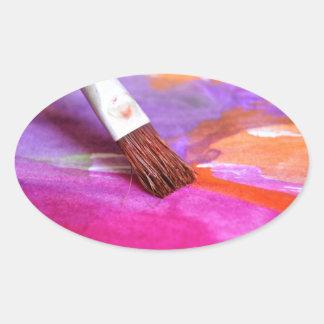 Paintbrush Oval Sticker