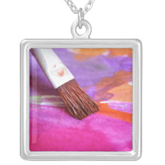 Paintbrush Silver Plated Necklace