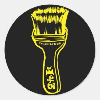 Paintbrush - Yellow Classic Round Sticker