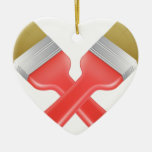 Paintbrushes crossed tools icon ornaments