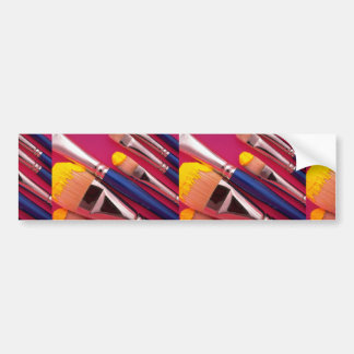 Paintbrushes in various shapes bumper stickers