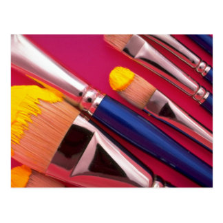 Paintbrushes in various shapes postcard