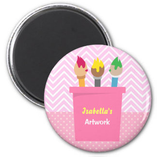 Paintbrushes Little Artists Girls Fridge Magnets