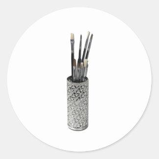 PaintbrushesDryingIntricateHolder123111 Classic Round Sticker