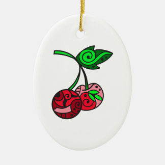 PAINTED CHERRIES CERAMIC OVAL ORNAMENT