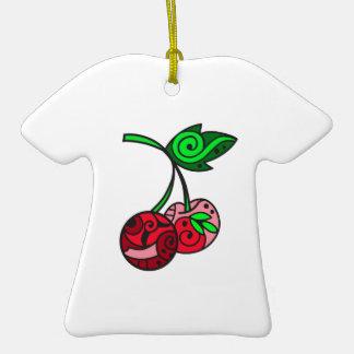 PAINTED CHERRIES CERAMIC T-Shirt ORNAMENT