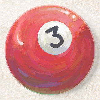 Painted 3 Pool Ball Pattern Coaster