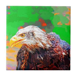 Painted American Bald Eagle Neon Portrait Ceramic Tile