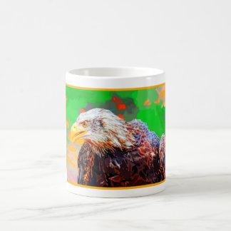 Painted American Bald Eagle Neon Portrait Coffee Mug