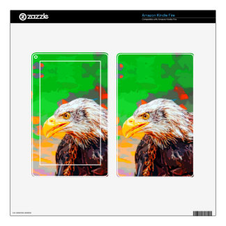 Painted American Bald Eagle Neon Portrait Skins For Kindle Fire