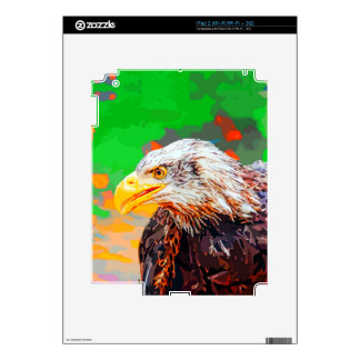 Painted American Bald Eagle Neon Portrait Skins For The iPad 2