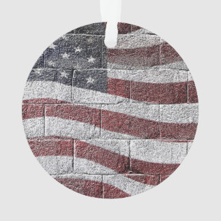 Painted American Flag on Brick Wall Texture