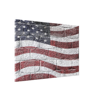 Painted American Flag on Brick Wall Texture Canvas Print