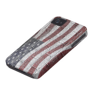 Painted American Flag on Brick Wall Texture Case-Mate iPhone 4 Case
