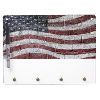 Painted American Flag on Brick Wall Texture Dry Erase Boards