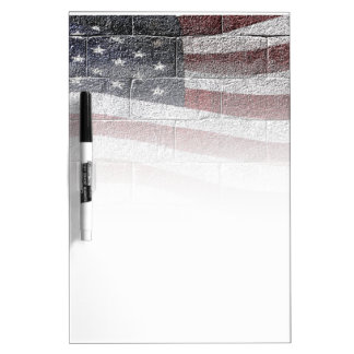 Painted American Flag on Brick Wall Texture Dry-Erase Boards