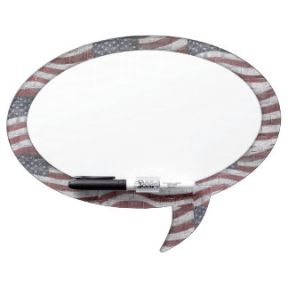 Painted American Flag on Brick Wall Texture Dry Erase Board