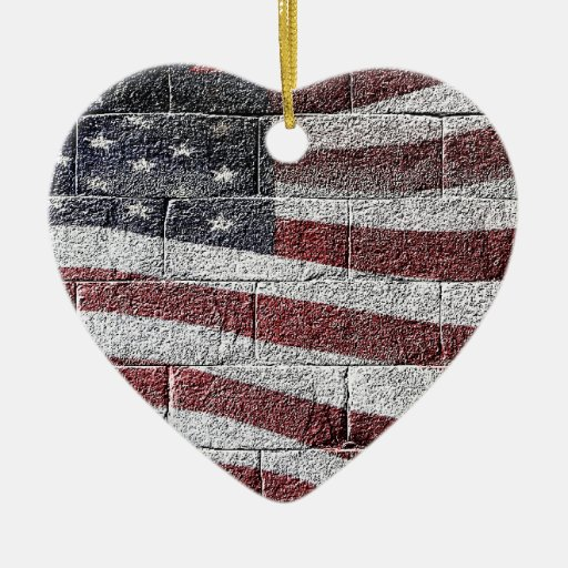 Painted American Flag on Brick Wall Texture Double-Sided Heart Ceramic Christmas Ornament