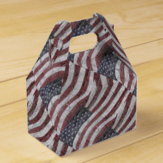 Painted American Flag on Brick Wall Texture Party Favor Boxes