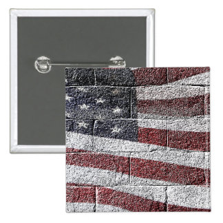 Painted American Flag on Brick Wall Texture Pinback Button