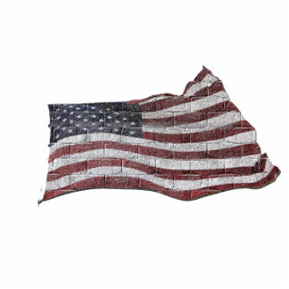Painted American Flag on Brick Wall Texture Statuette