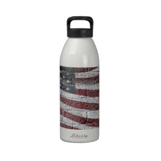 Painted American Flag on Brick Wall Texture Drinking Bottle