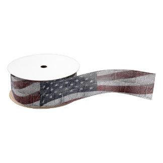 Painted American Flag on Brick Wall Texture Grosgrain Ribbon