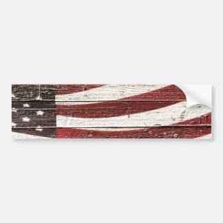 Painted American Flag on Rustic Wood Texture Bumper Sticker
