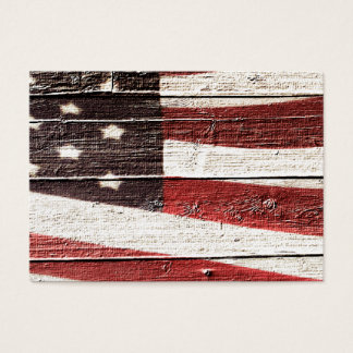 Painted American Flag on Rustic Wood Texture Business Card
