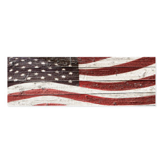 Painted American Flag on Rustic Wood Texture Business Card Template