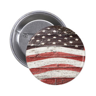 Painted American Flag on Rustic Wood Texture Pinback Button
