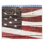 Painted American Flag on Rustic Wood Texture Calendar