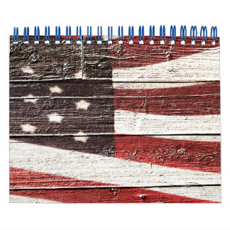 Painted American Flag on Rustic Wood Texture Calendar