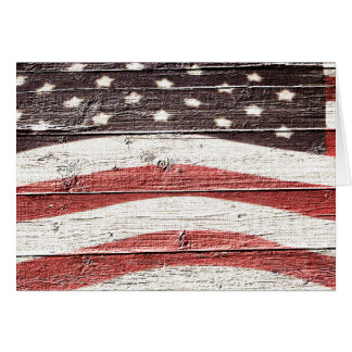 Painted American Flag on Rustic Wood Texture Greeting Cards