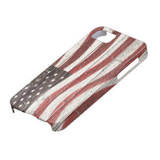 Painted American Flag on Rustic Wood Texture iPhone 5 Covers