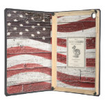 Painted American Flag on Rustic Wood Texture Case For iPad Air