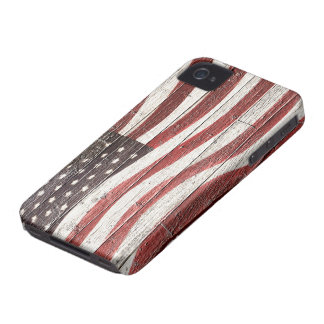 Painted American Flag on Rustic Wood Texture Case-Mate iPhone 4 Cases