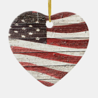 Painted American Flag on Rustic Wood Texture Ceramic Ornament